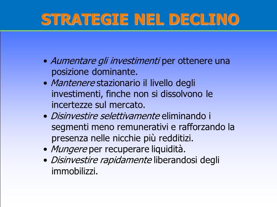 STRATEGIE NEL DECLINOAumentare gli investimenti per ottenere una posizione dominante.