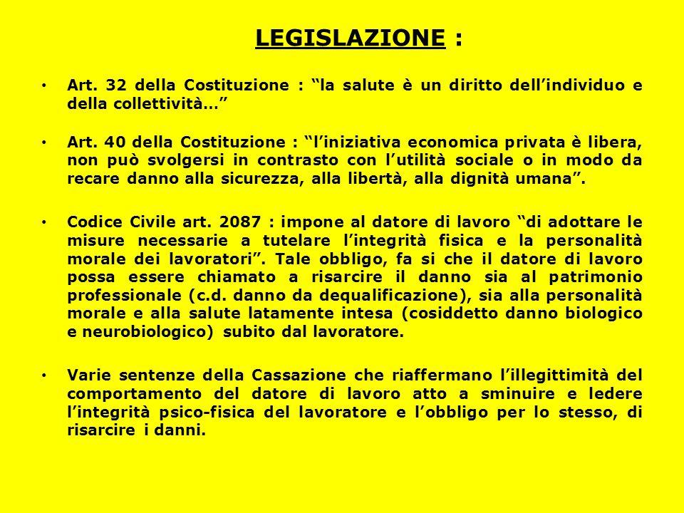 LEGISLAZIONE : Art. 32 della Costituzione : la salute è un diritto dell'individuo e della collettività…