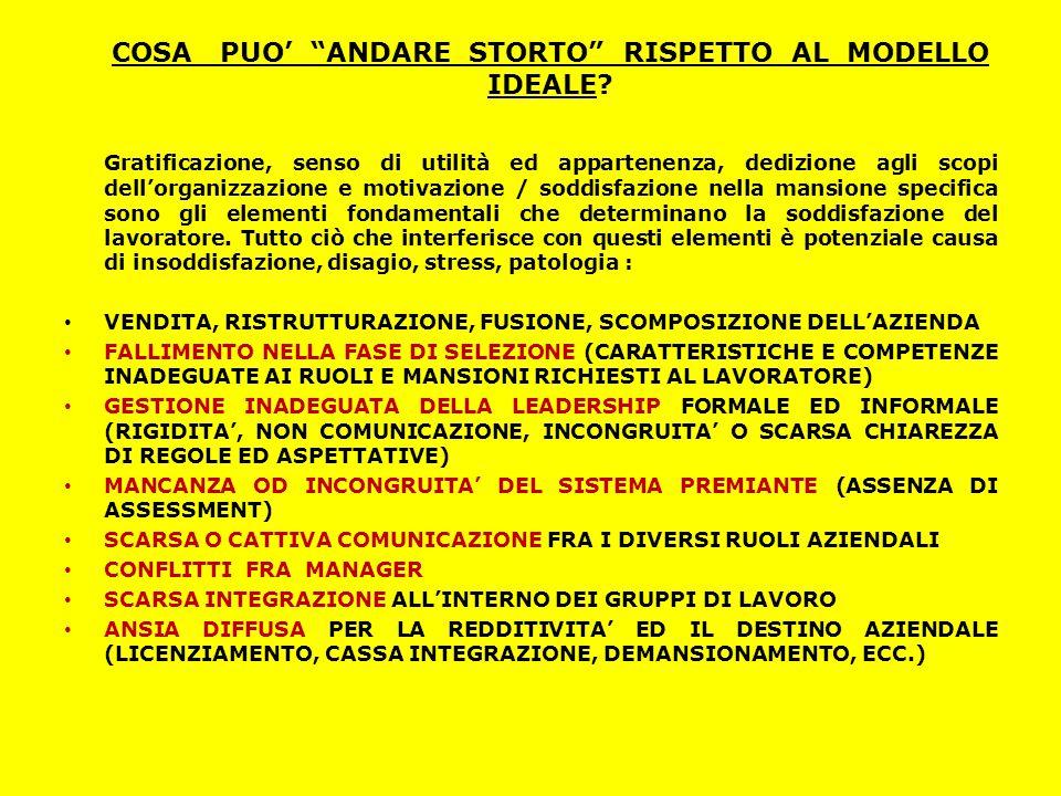 COSA PUO' ANDARE STORTO RISPETTO AL MODELLO IDEALE