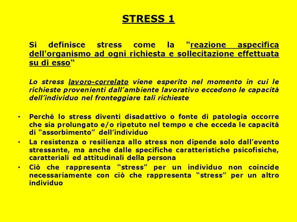STRESS 1 Si definisce stress come la reazione aspecifica dell organismo ad ogni richiesta e sollecitazione effettuata su di esso