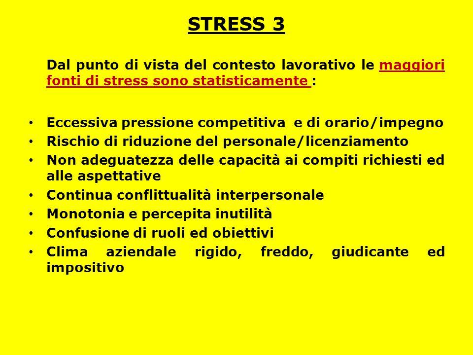 STRESS 3 Dal punto di vista del contesto lavorativo le maggiori fonti di stress sono statisticamente :