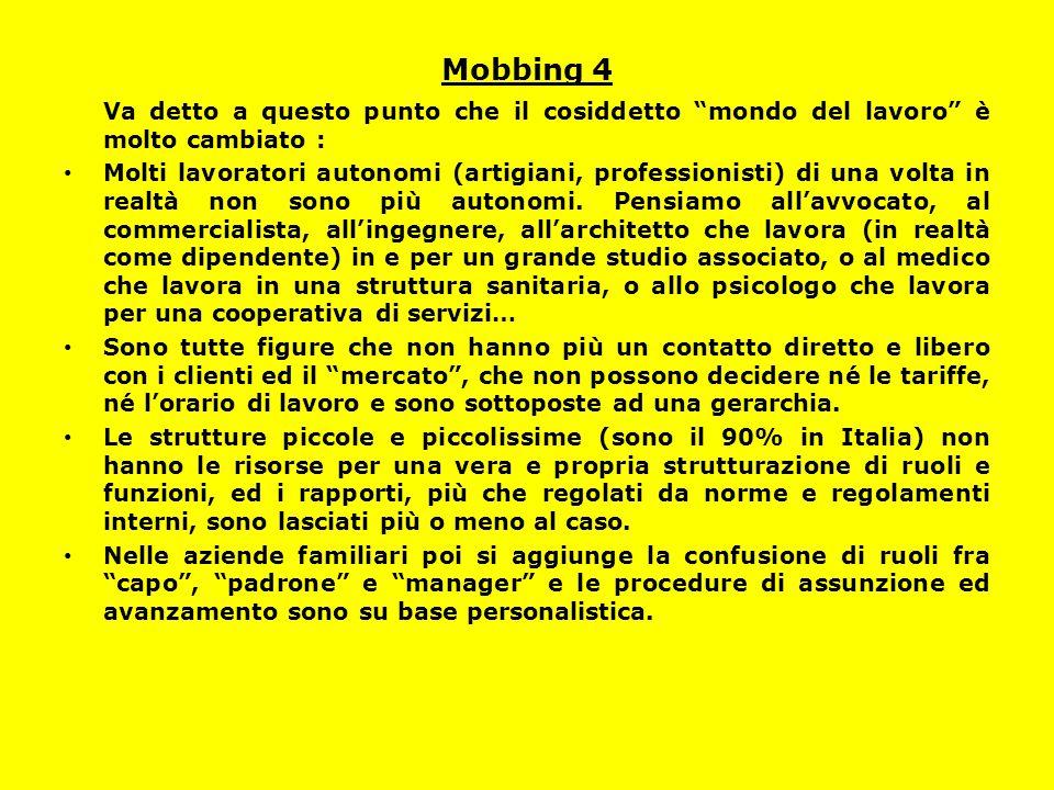 Mobbing 4 Va detto a questo punto che il cosiddetto mondo del lavoro è molto cambiato :
