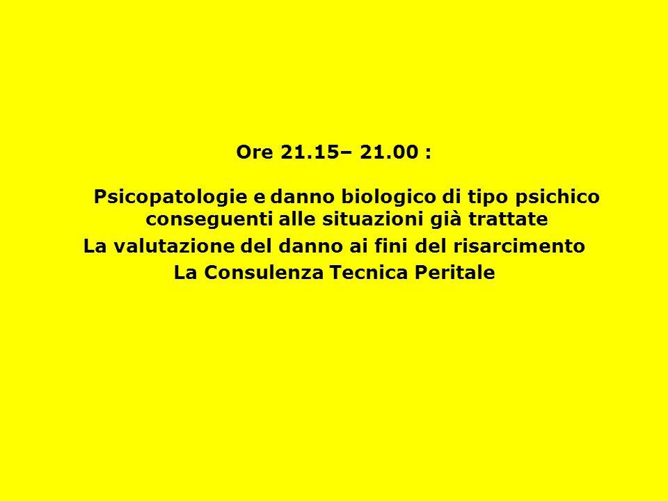 Ore 21.15– 21.00 : Psicopatologie e danno biologico di tipo psichico conseguenti alle situazioni già trattate La valutazione del danno ai fini del risarcimento La Consulenza Tecnica Peritale