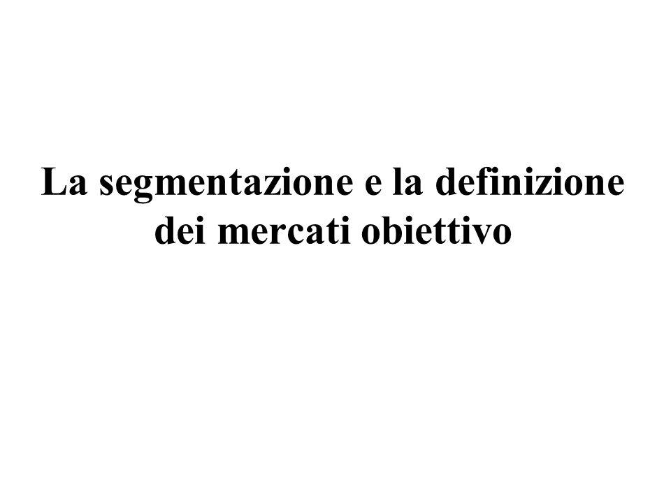 La segmentazione e la definizione dei mercati obiettivo