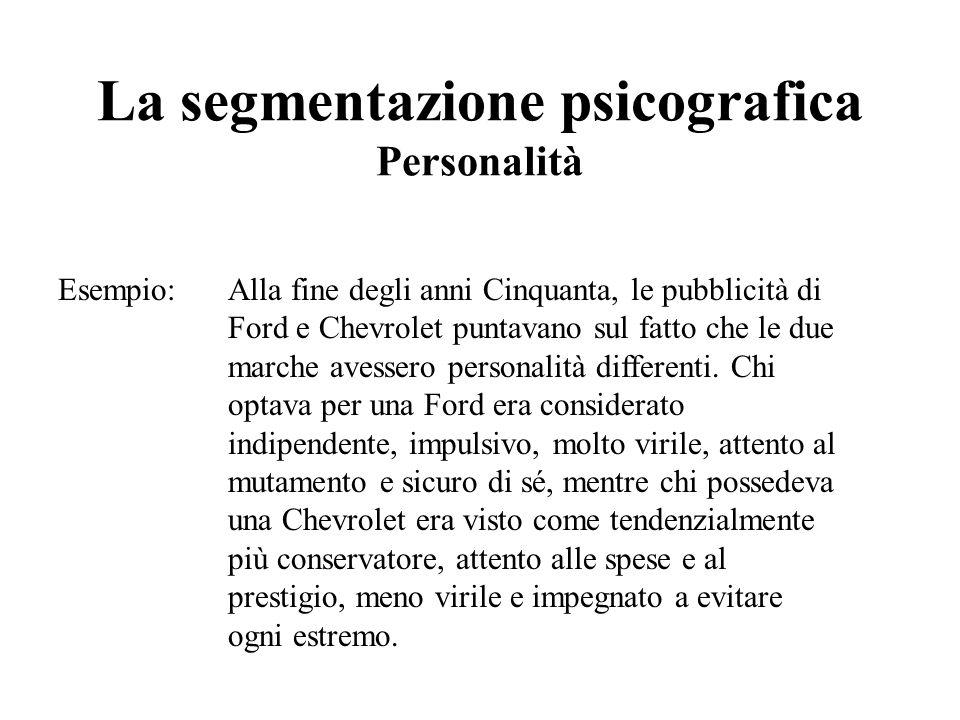 La segmentazione psicografica Personalità