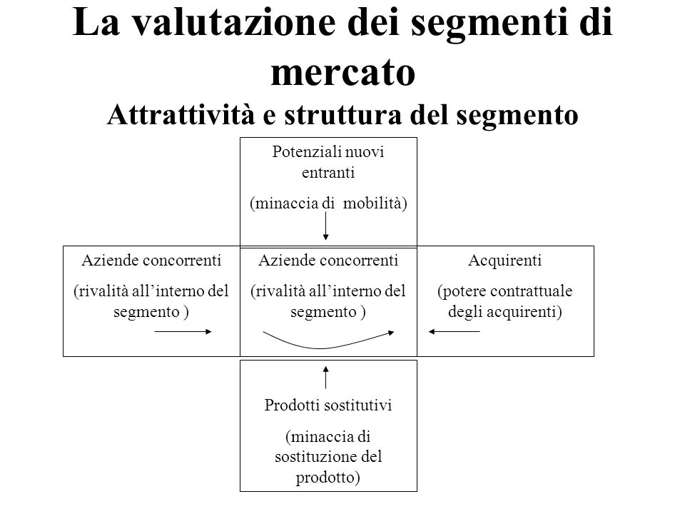 La valutazione dei segmenti di mercato Attrattività e struttura del segmento