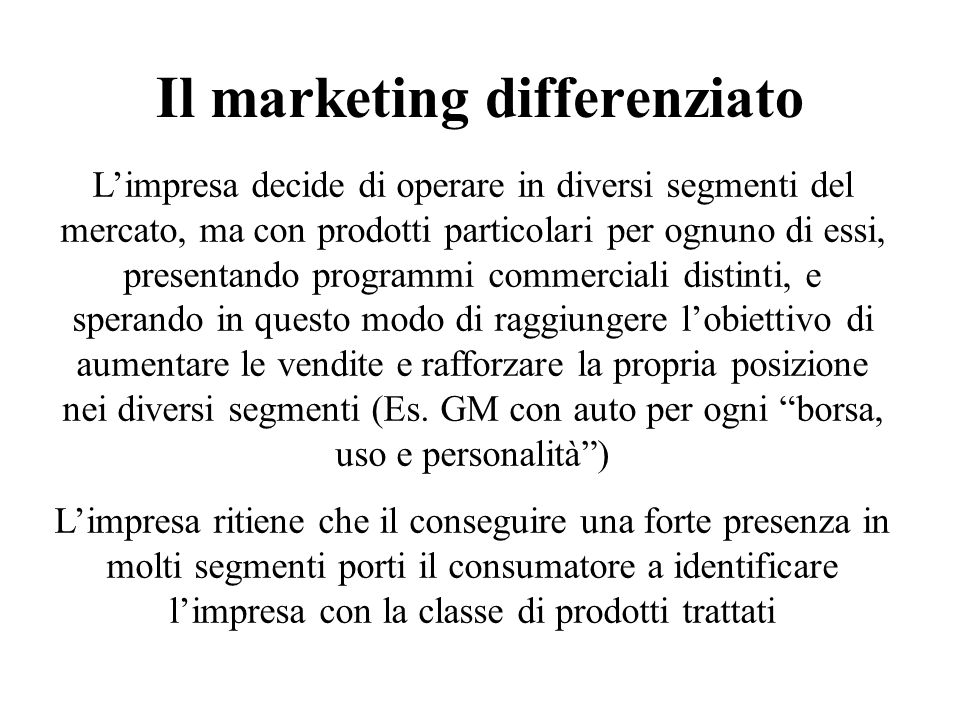 Il marketing differenziato