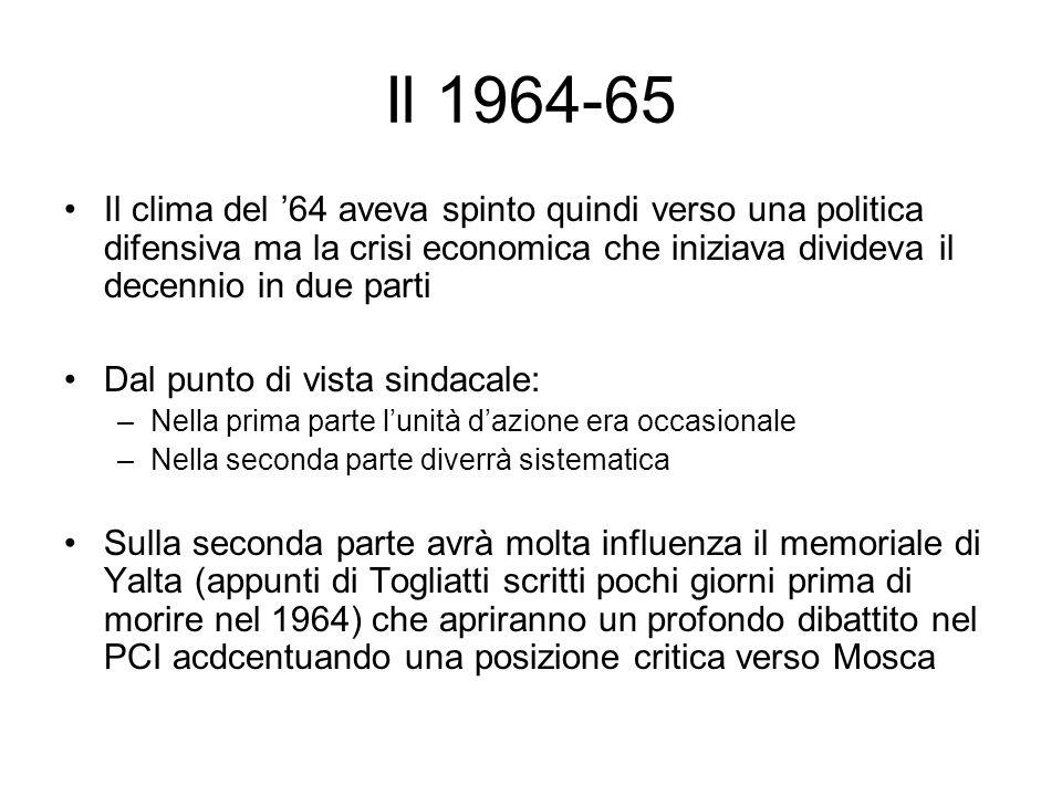 Il 1964-65 Il clima del '64 aveva spinto quindi verso una politica difensiva ma la crisi economica che iniziava divideva il decennio in due parti.
