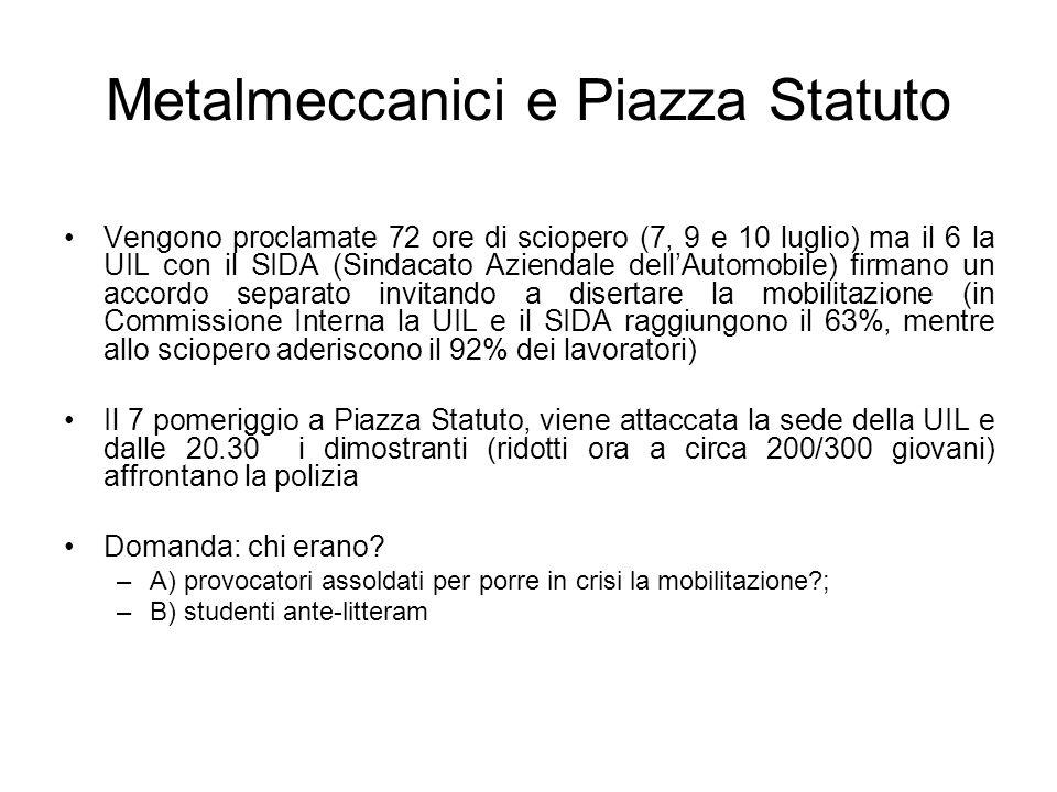 Metalmeccanici e Piazza Statuto