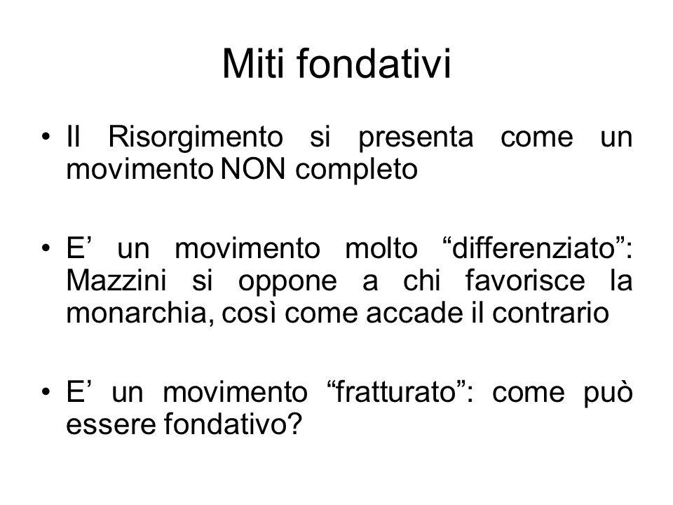 Miti fondativi Il Risorgimento si presenta come un movimento NON completo.