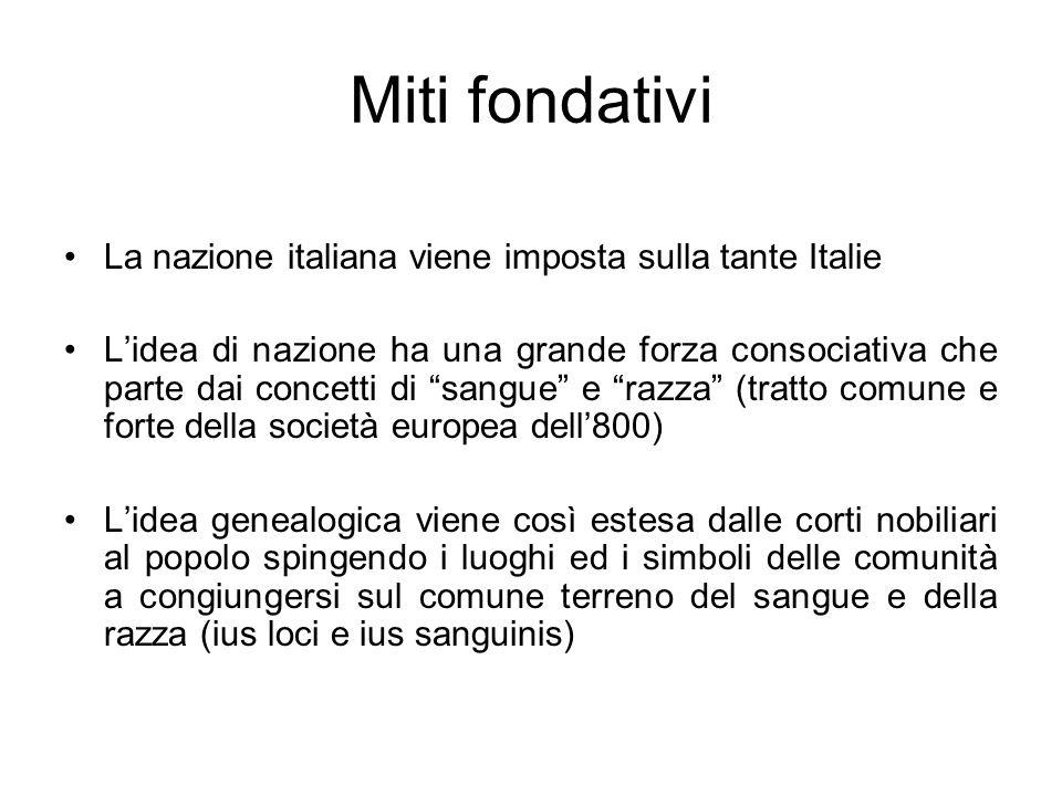 Miti fondativi La nazione italiana viene imposta sulla tante Italie