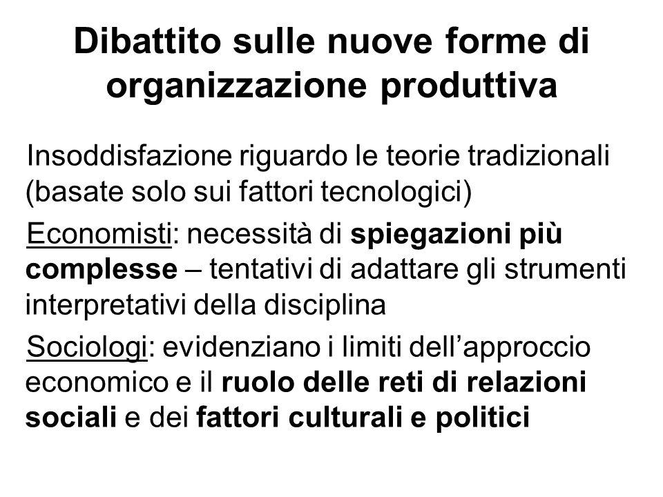 Dibattito sulle nuove forme di organizzazione produttiva