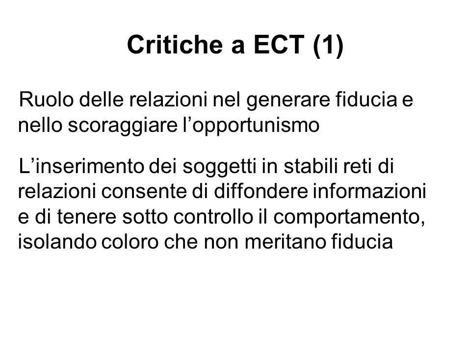 Critiche a ECT (1) Ruolo delle relazioni nel generare fiducia e nello scoraggiare l'opportunismo.