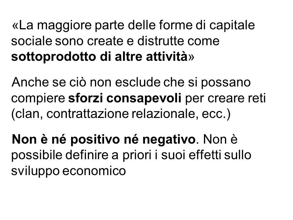 «La maggiore parte delle forme di capitale sociale sono create e distrutte come sottoprodotto di altre attività»