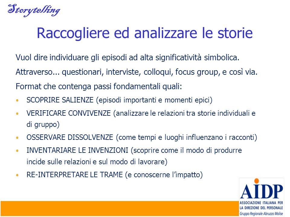 Raccogliere ed analizzare le storie
