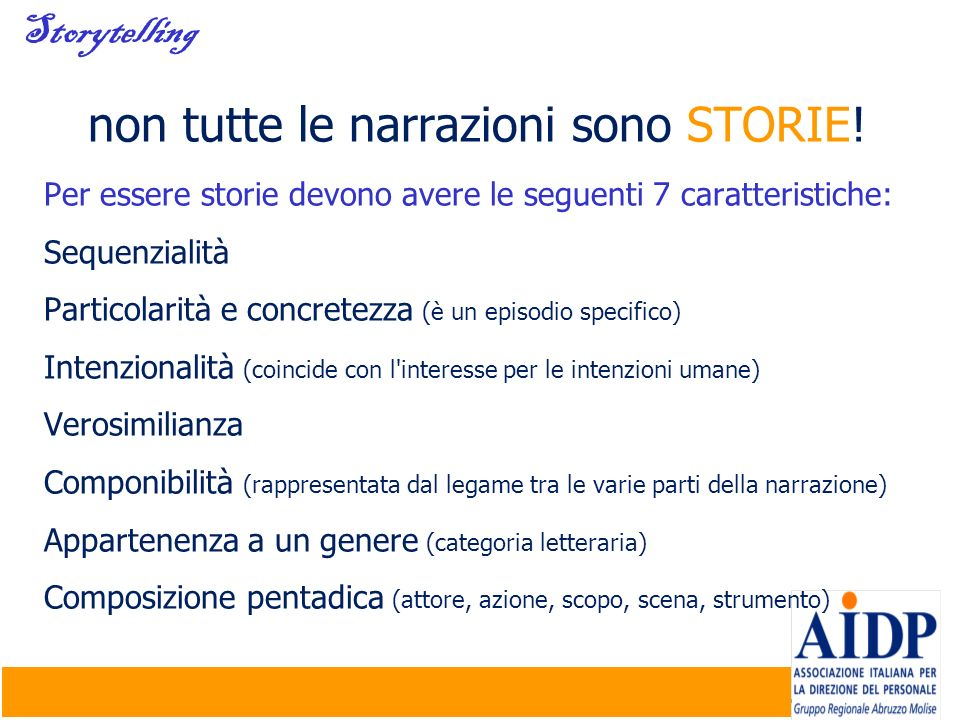 non tutte le narrazioni sono STORIE!