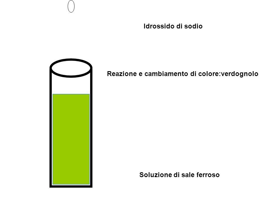 Idrossido di sodio Reazione e cambiamento di colore:verdognolo Soluzione di sale ferroso