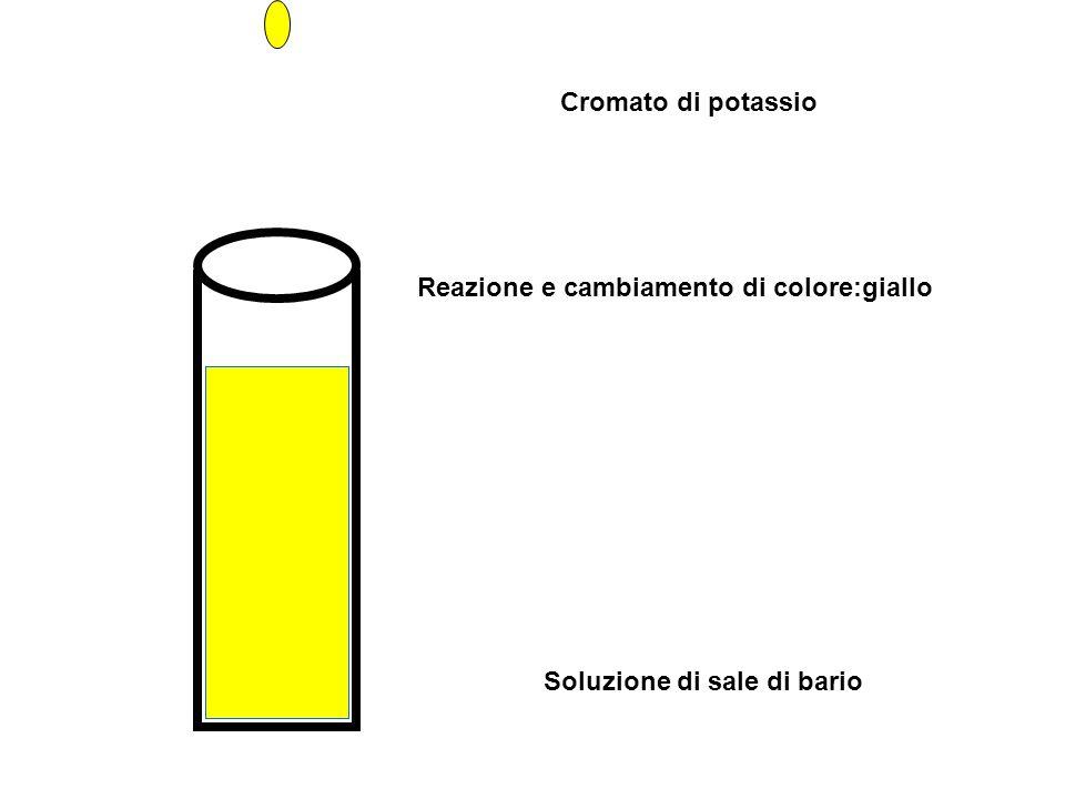 Cromato di potassio Reazione e cambiamento di colore:giallo Soluzione di sale di bario