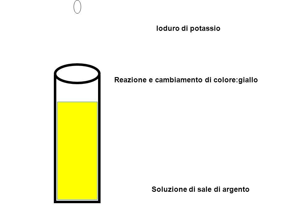 Ioduro di potassio Reazione e cambiamento di colore:giallo Soluzione di sale di argento