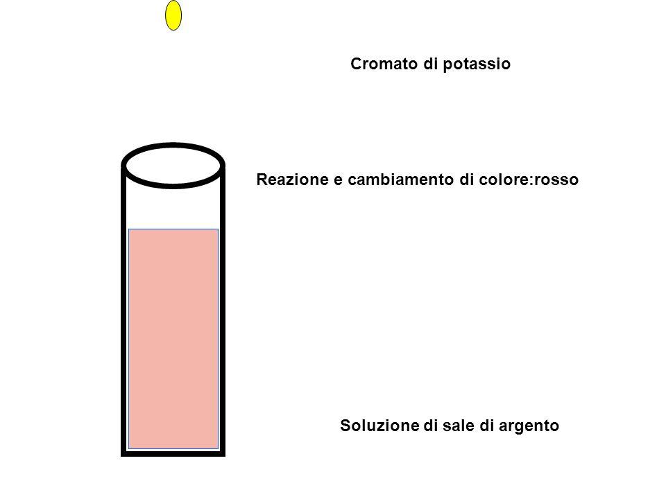 Cromato di potassio Reazione e cambiamento di colore:rosso Soluzione di sale di argento