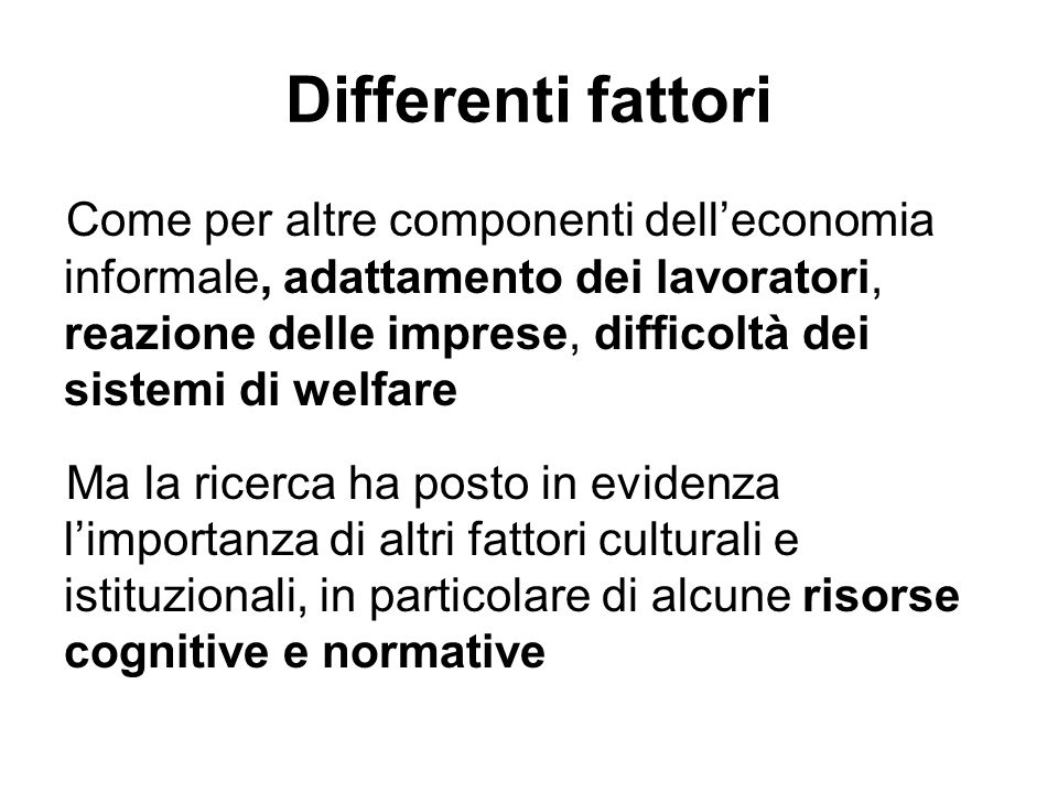 Differenti fattori