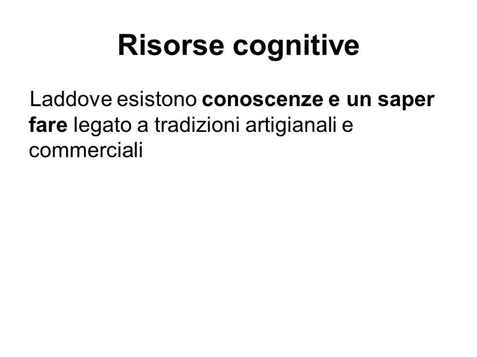 Risorse cognitive Laddove esistono conoscenze e un saper fare legato a tradizioni artigianali e commerciali.