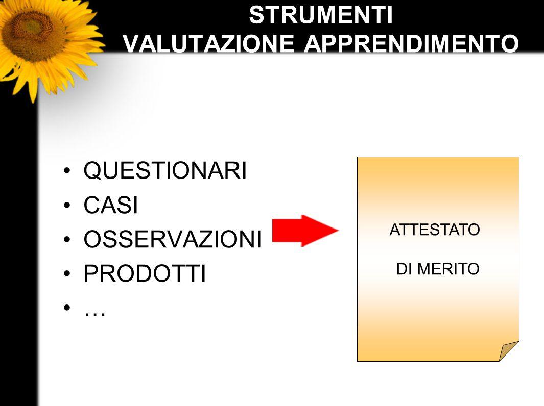 STRUMENTI VALUTAZIONE APPRENDIMENTO