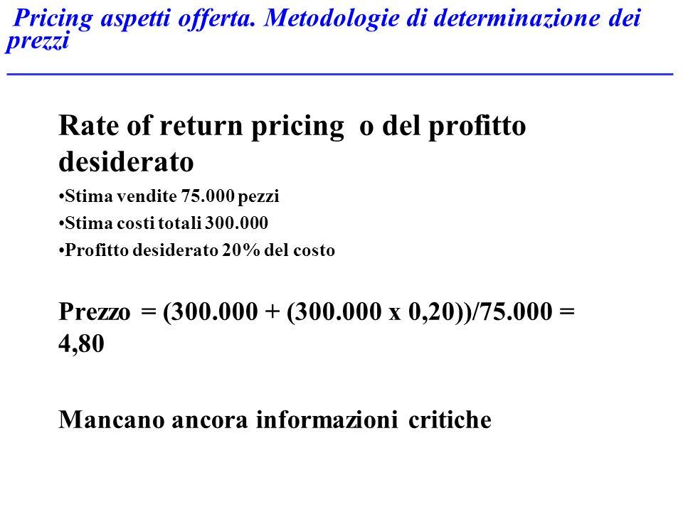 Pricing aspetti offerta. Metodologie di determinazione dei prezzi