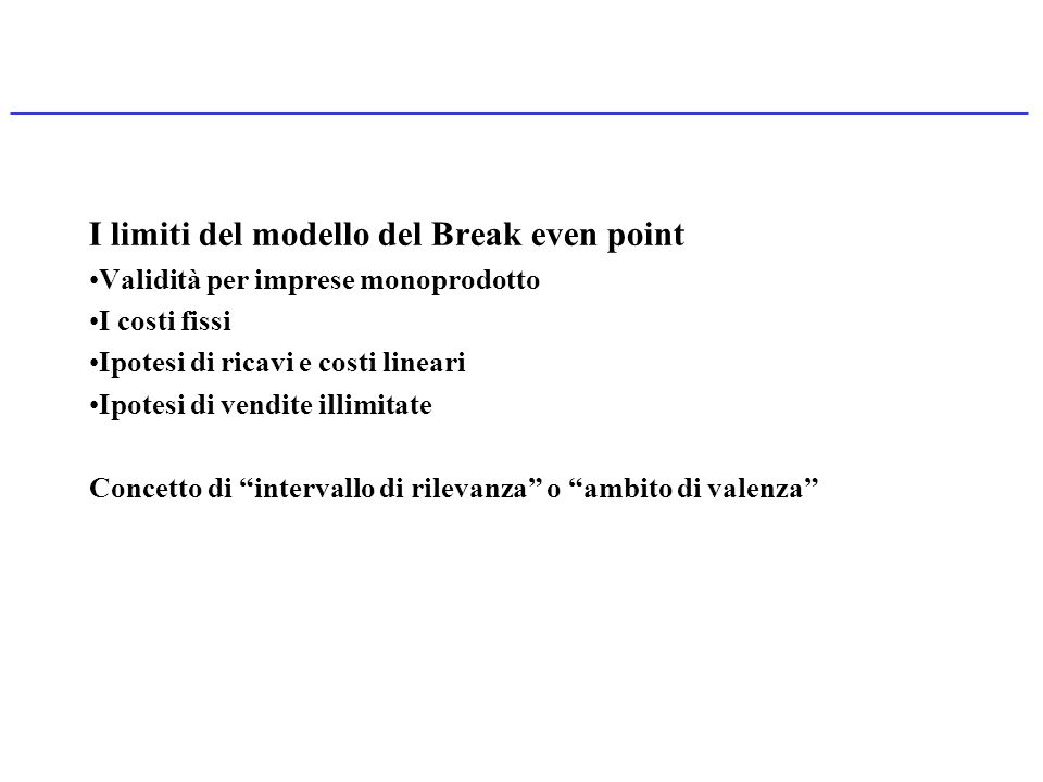 I limiti del modello del Break even point