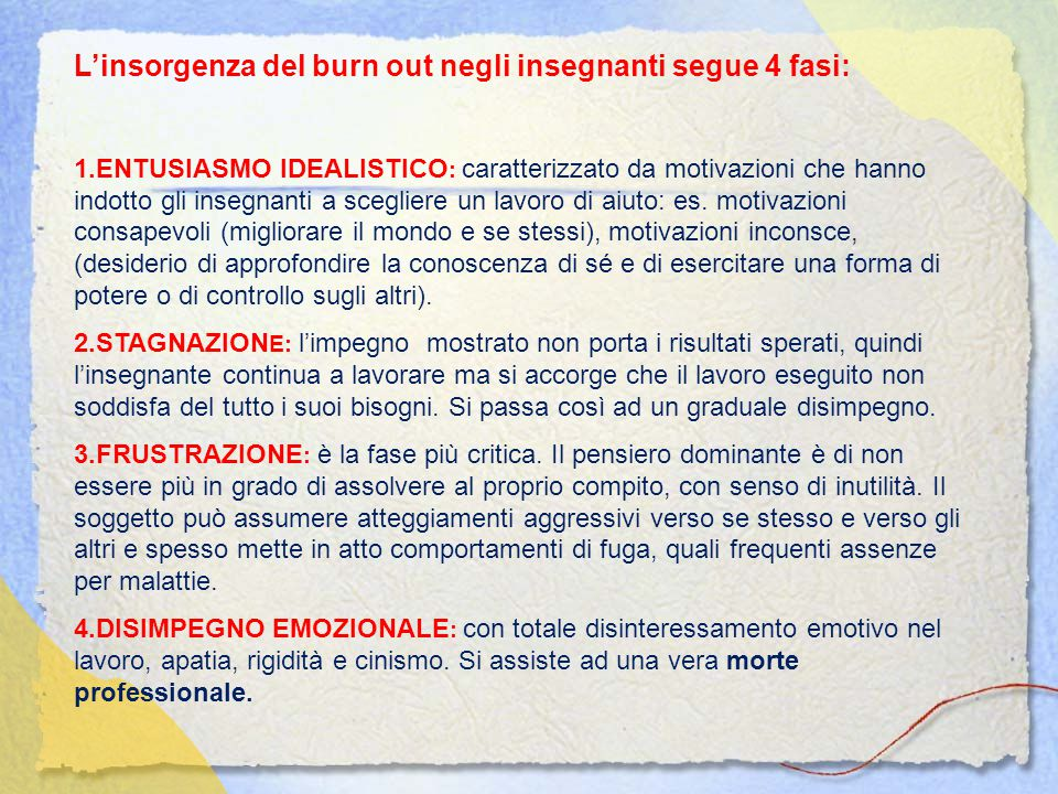 L'insorgenza del burn out negli insegnanti segue 4 fasi: