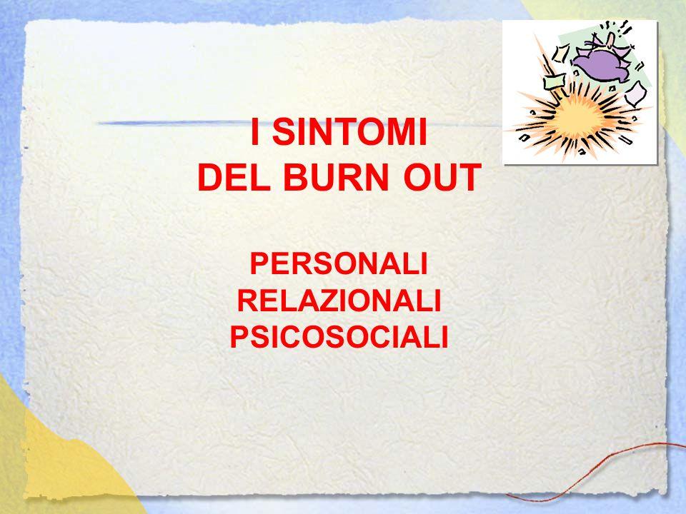 I SINTOMI DEL BURN OUT PERSONALI RELAZIONALI PSICOSOCIALI