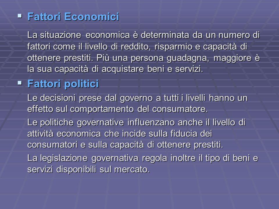 Fattori Economici Fattori politici