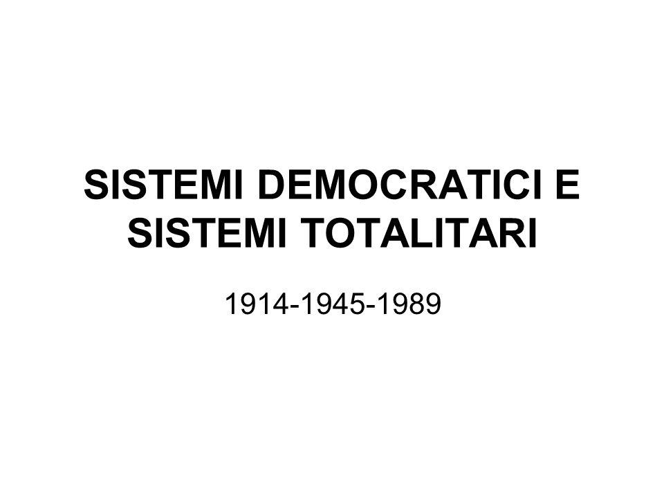 SISTEMI DEMOCRATICI E SISTEMI TOTALITARI