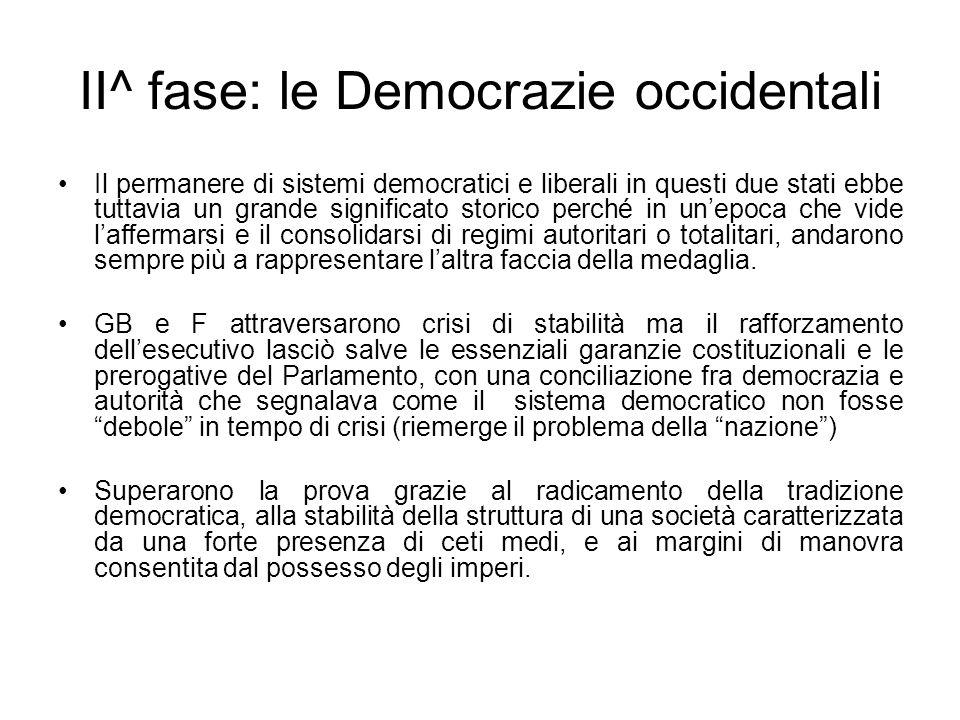 II^ fase: le Democrazie occidentali