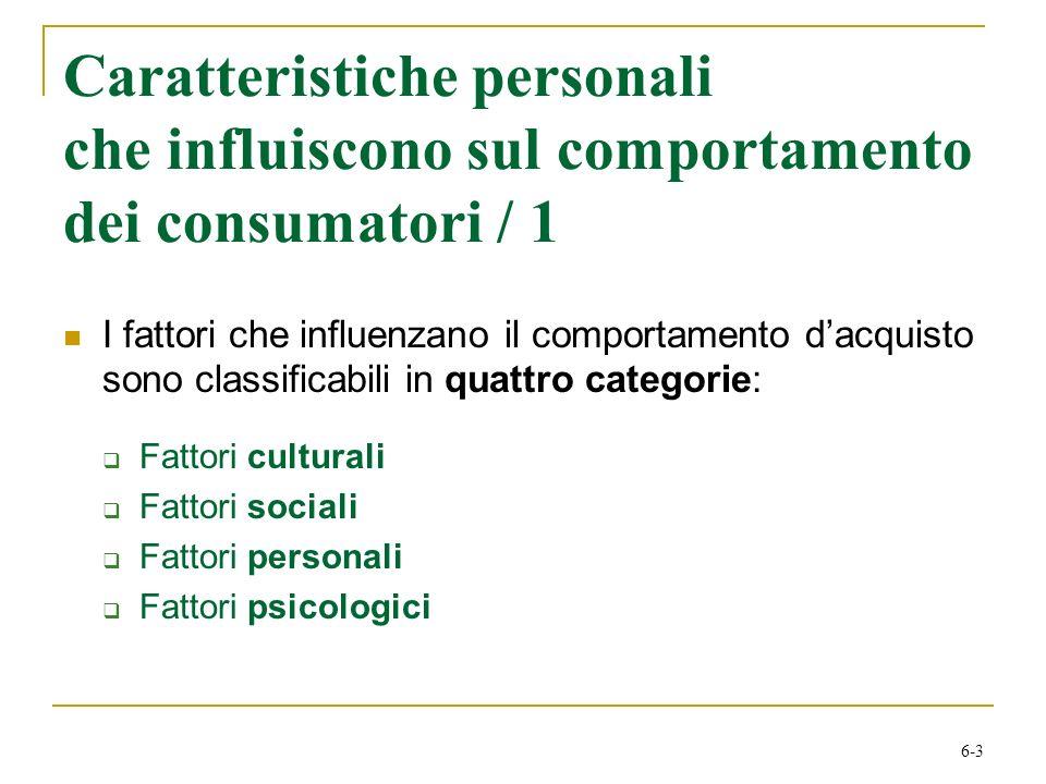 Caratteristiche personali che influiscono sul comportamento dei consumatori / 1