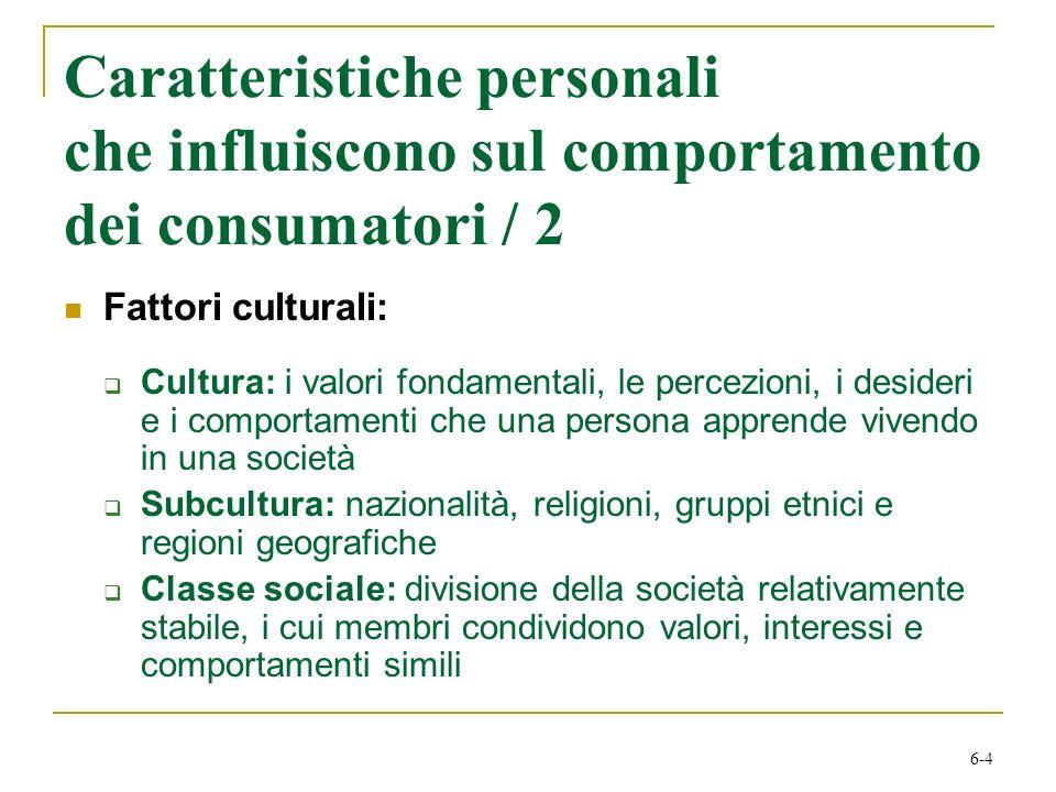 Caratteristiche personali che influiscono sul comportamento dei consumatori / 2