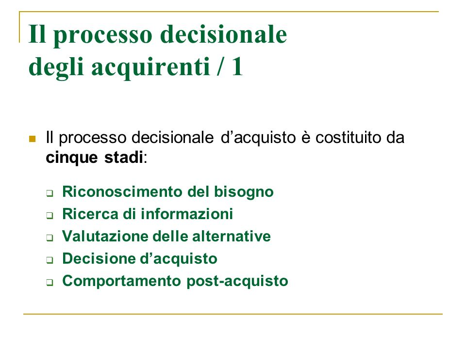 Il processo decisionale degli acquirenti / 1