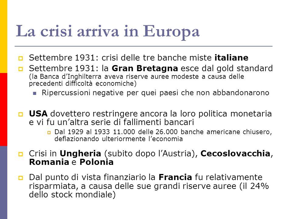 La crisi arriva in Europa