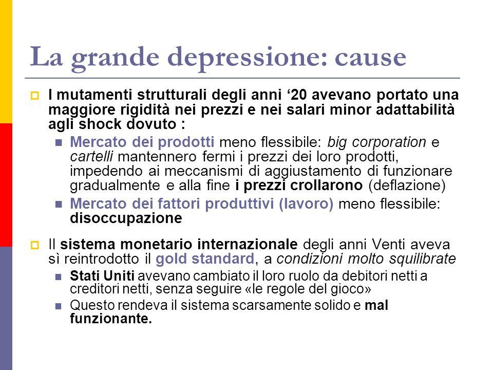 La grande depressione: cause