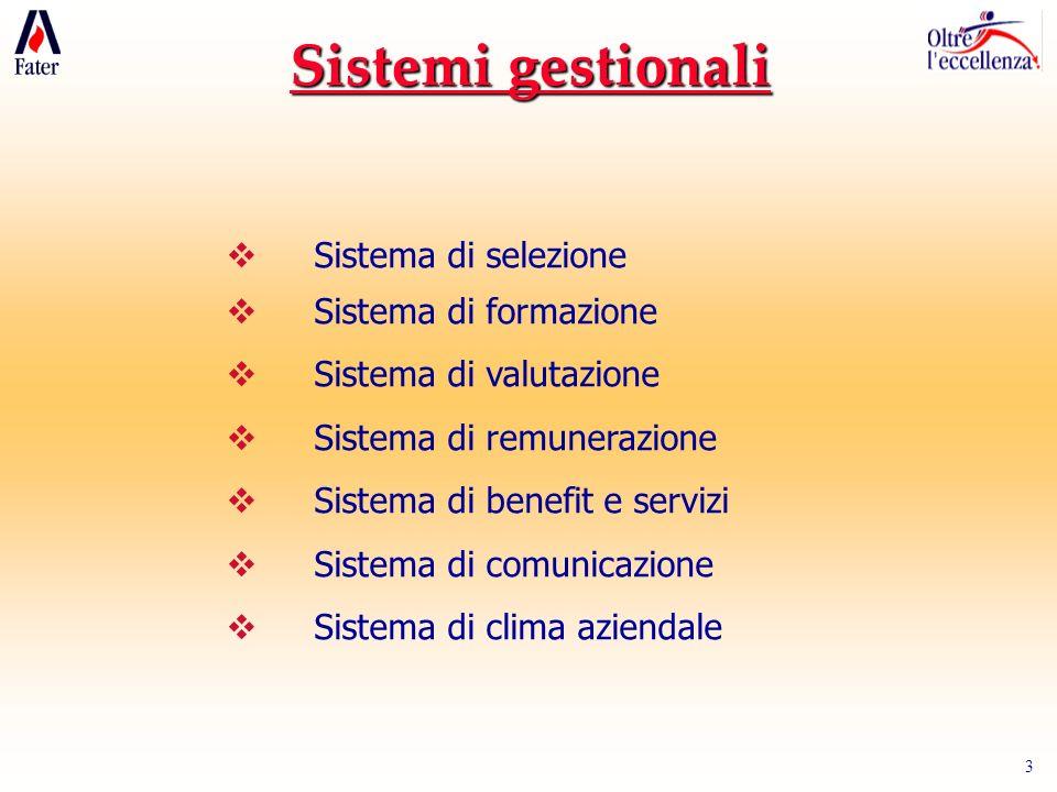 Sistemi gestionali Sistema di selezione Sistema di formazione