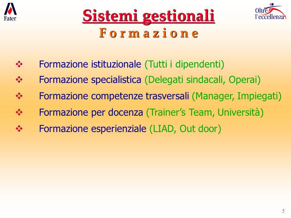 Sistemi gestionali F o r m a z i o n e