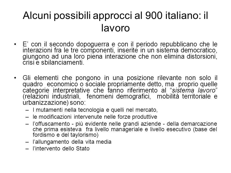 Alcuni possibili approcci al 900 italiano: il lavoro