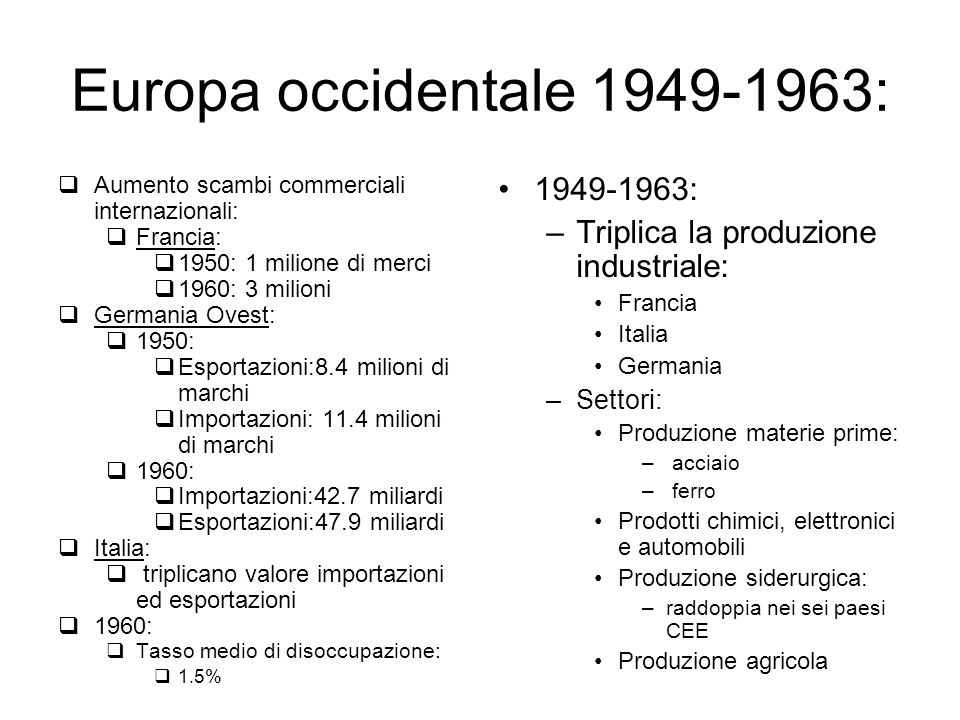 Europa occidentale 1949-1963: 1949-1963: