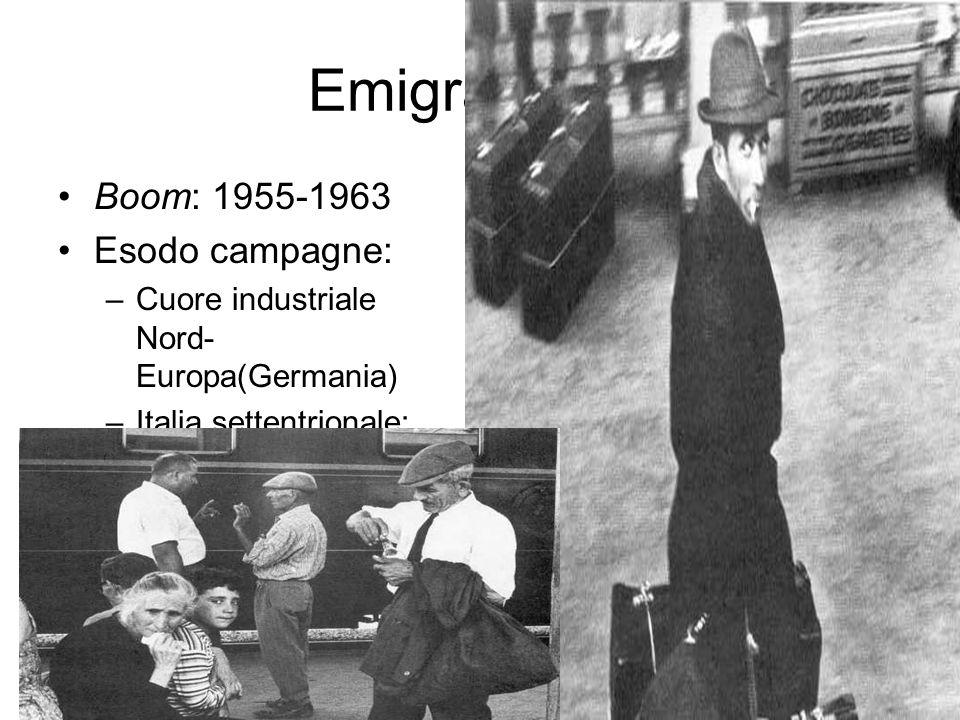 Emigrazione: Boom: 1955-1963 Esodo campagne: