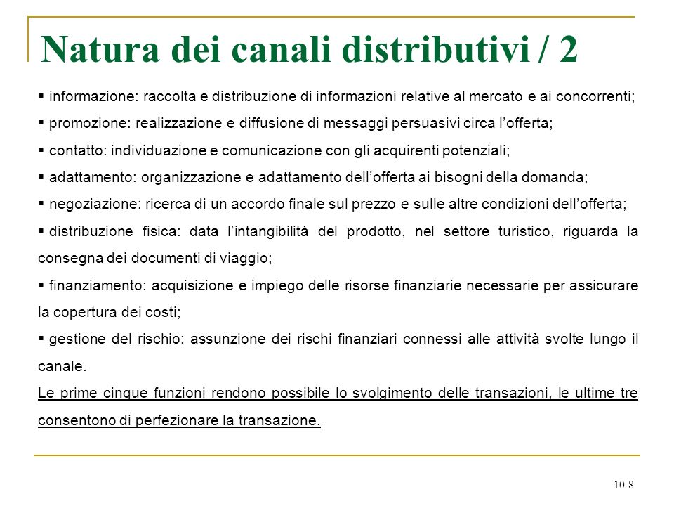 Natura dei canali distributivi / 2