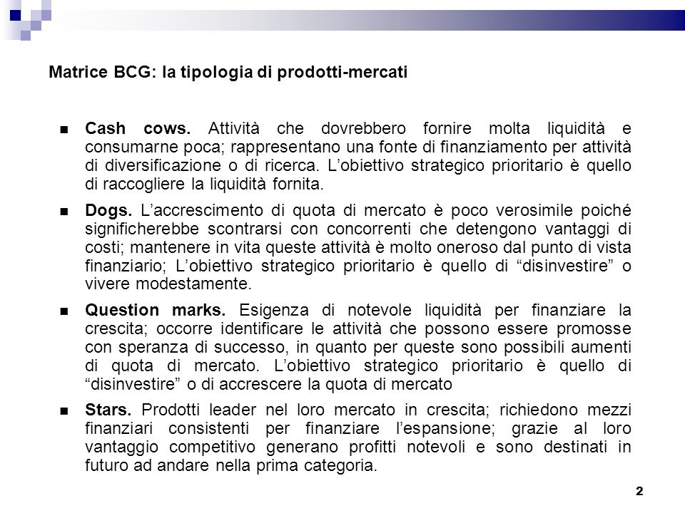 Matrice BCG: la tipologia di prodotti-mercati