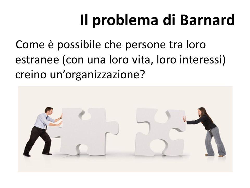 Il problema di Barnard Come è possibile che persone tra loro estranee (con una loro vita, loro interessi) creino un'organizzazione