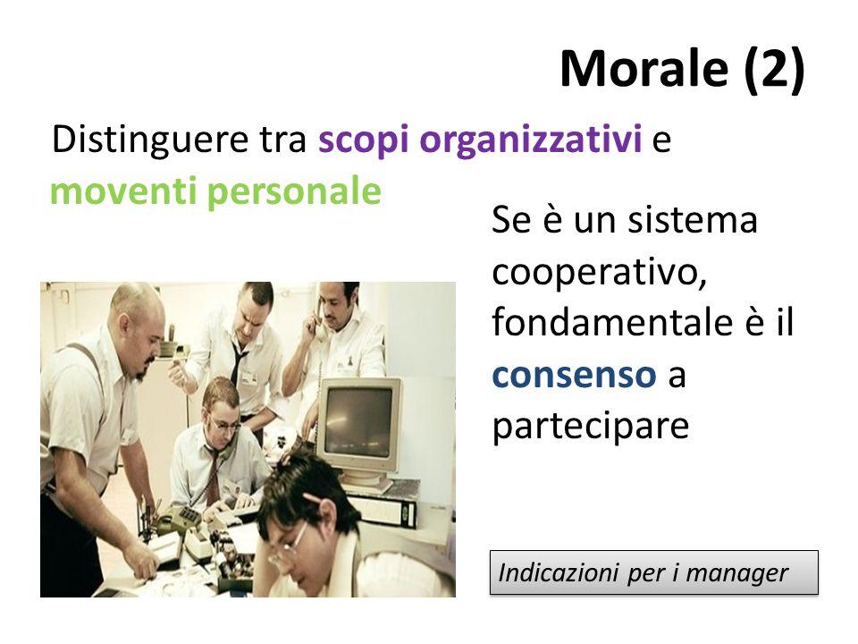 Morale (2) Distinguere tra scopi organizzativi e moventi personale