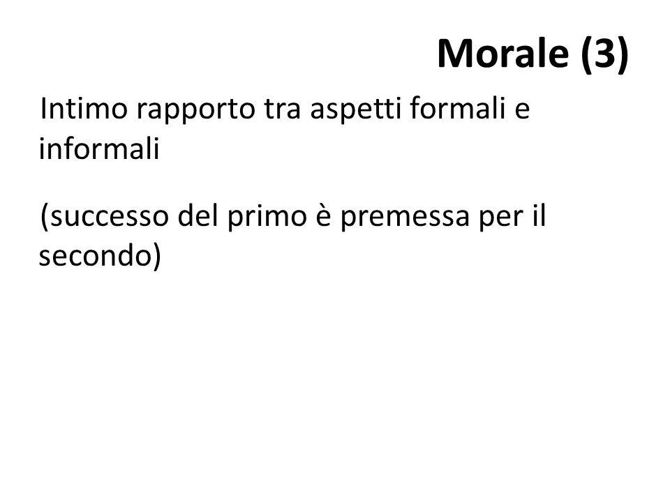 Morale (3) Intimo rapporto tra aspetti formali e informali (successo del primo è premessa per il secondo)