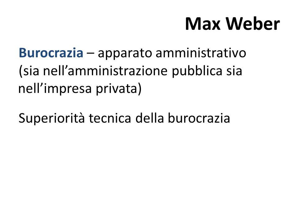 Max WeberBurocrazia – apparato amministrativo (sia nell'amministrazione pubblica sia nell'impresa privata) Superiorità tecnica della burocrazia